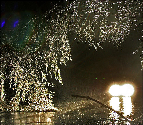 Early commuters had it tough. Downed branches as well as black ice made for slow going on Route 113 in Dunstable.