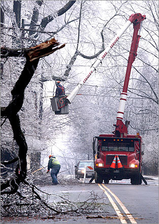 Another view of the Stanley Tree Service workers who cleared the mess on Osgood Street.