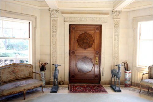A look back at mansion's front door.
