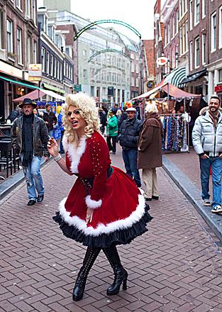 Drag queen Miss Wendy posed on the Reguliersdwarsstraat in Amsterdam on Dec. 21.