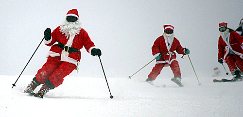 Santas hit the slopes at The Canyons in Park City, Utah, for the mountain's annual Santa Skis for Free Day on Dec. 20.