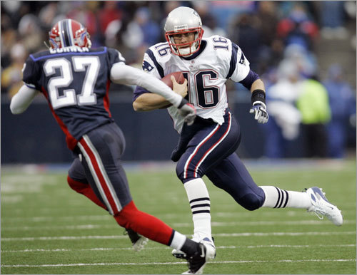 Patriots quarterback Matt Cassel ran under pressure from Buffalo's Reggie Corner.
