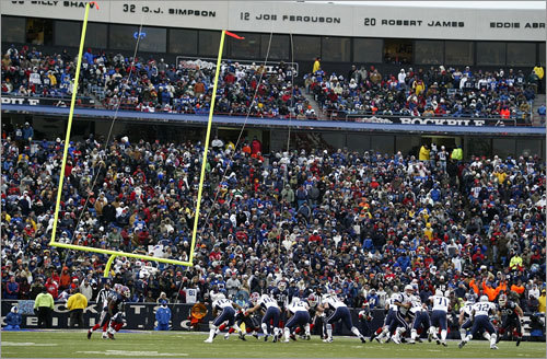 Even during the game, the goal posts were blown sideways by wind gusts.