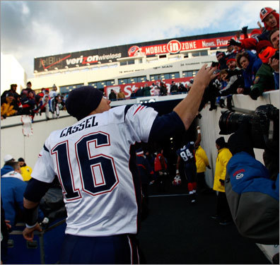 When the game was over, Matt Cassel greeted fans on his way back to the locker room.