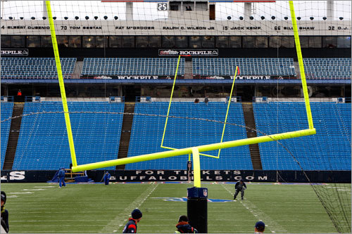 It was so windy in Buffalo that the goalposts had to be straightened before the game.
