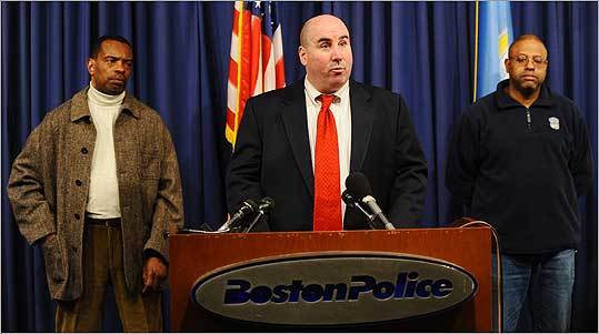 Boston Police Department Superintendent Daniel Linskey (center), superintendent of police, addressed a press conference Sunday about Hosea Richardson of Newton at police headquarters in Boston.