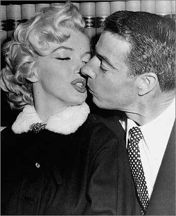 One of the most famous baseball player-actress duos was Yankee Joe DiMaggio and Marilyn Monroe. Their marriage lasted only 274 days and was Monroe's second of three. To the left, the couple waited in 1954 in the judge's chambers for their marriage ceremony.