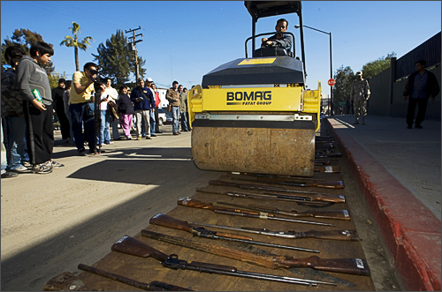 Weapons are destroyed by the Mexican Army in Tijuana, Mexico on December 30, 2008.