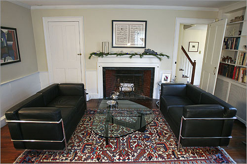 Another look at the living room. Four of the home's eight fireplaces are still operational.