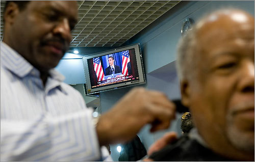 The Obama is the most popular cut at Hyde Park Hair Salon in Chicago. The barbershop is owned by a stylist known as Zariff, who began cutting President-elect Barack Obama's hair 15 years ago.