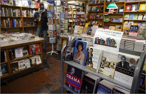 A display of books featuring Obama and his wife, Michelle, are displayed at 57th Street Books, where Obama is a longtime customer.