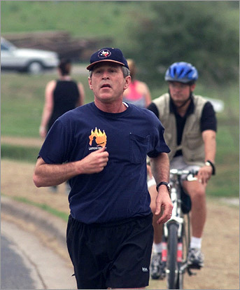 Ironman Decathelete Don't laugh, we're dead serious -- Bush works out every day and even keeps a treadmill on Air Force One. He told Runners World he ran a 3-hour, 44-minute marathon in Houston and Bob Woodward's book 'Bush at War' talks about the president bench pressing repetitions of more than 200 pounds -- no paltry sum. With his schedule lightening, Bush could take his dedication to fitness more seriously.