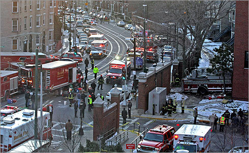 Ladder 26 could be seen on the right in this photograph from Huntington Ave.