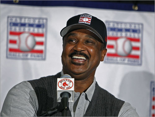 At a press conference following the Hall announcement, Rice stayed composed and thoughtful while taking questions for 15 minutes. He told jokes -- 'Yes, I would be making $27 million today,' he said -- and became emotional only once, when he talked about how much Yastrzemski meant to him. Rice gave Yaz credit for teaching him how to play the left field wall at Fenway, and for stepping aside and playing first base to allow Rice to take over in left. 'Yaz only played with one outfielder's glove,' Rice said, his eyes moistening. 'And I have it at my house.'