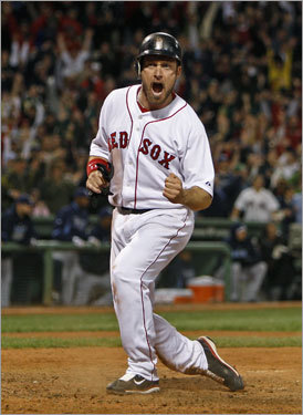 Mark Kotsay, OF/1B Though it isn't yet official , the Sox are bringing back the 33-year-old on a one-year deal, according to the Globe. Kotsay, shown here scoring the tying run in Boston's comeback win in Game 5 of the ALCS against the Rays, batted .226 with 12 RBIs in 22 regular-season games with the Sox after coming over in a trade with the Braves Aug. 27. He'll play the backup first-baseman/outfielder role.