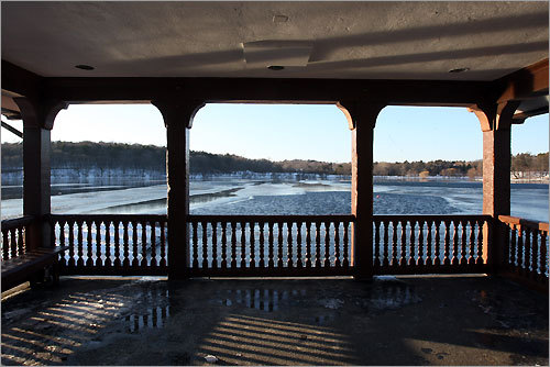 The gazebo next to the Jamaica Pond Boathouse looks out over the pond, where skating parties were once held.
