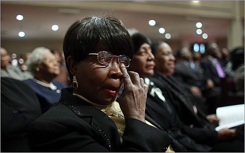 Frances Arthur became emotional during the sermon at morning services at Ebenezer AME Church.