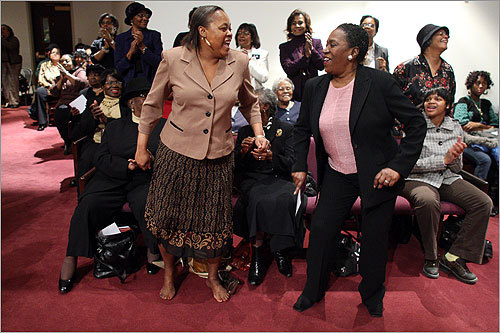 Marcia Brathwaite and Charlotte Nelson of St. Paul's AME church in Cambridge made the trip to Washington for Barack Obama's inauguration. On Monday, the group felt the music during a gospel concert at their sister church in Fort Washington, Md.