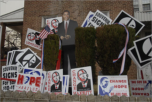 Signs and banners showed support for Obama on the National Mall in Washington Monday.