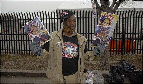 A vendor sold Obama items Monday.