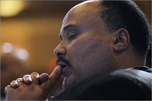 Martin Luther King III took in the opening prayer at the Rev. Martin Luther King Jr. Commemoration and Realizing the Dream Awards ceremony Sunday in Washington, D.C.