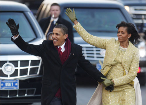 Barack and Michelle Obama walked for several blocks before returning to the presidential limousine for the remainder of the parade.