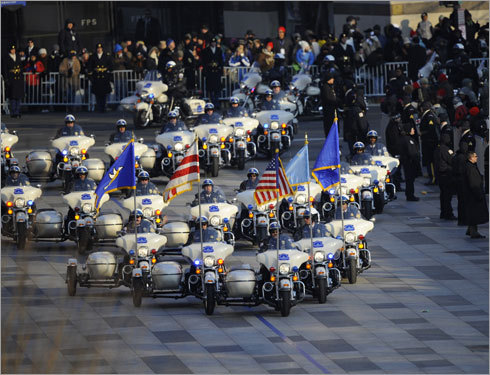 Police in Washington, D.C., headed the motorcade for the inaugural parade.