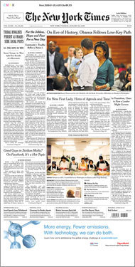 Tuesday's New York Times focused on Obama's activities the night before the inauguration.