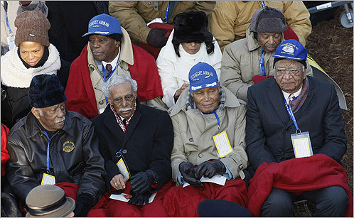 Members of the Tuskegee Airmen, a WWII unit of African-American fighter pilots, sat and waited to see the swearing in of Obama.