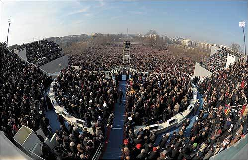 Obama gave his inaugural address on the West Front of the Capitol.