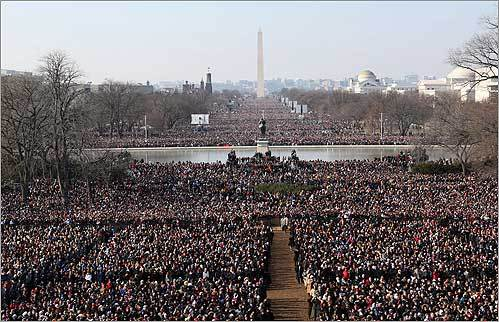 Hundreds of thousands gathered on the National Mall during the inauguration.
