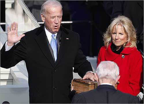 Vice President Biden, with his wife, Jill, was sworn in.