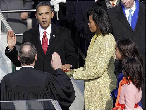 Obama took the Oath of Office as the 44th president of the United States. He was sworn in by Supreme Court Chief Justice John Roberts, with his wife, Michelle, and daughters, Malia and Sasha, by his side Tuesday.