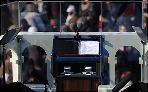 The dais at the Capitol where Obama was sworn in as the 44th president by Supreme Court Chief Justice John Roberts.