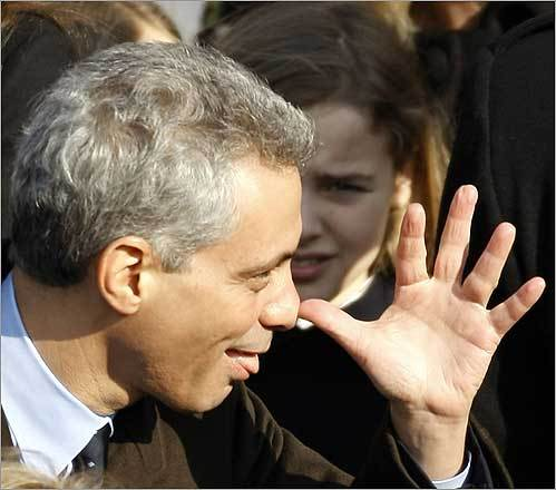 Incoming White House Chief of Staff Rahm Emanuel gestured prior to the inauguration ceremony.