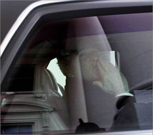 Bush blew a kiss as he left the White House for the final time as president en route to Capitol Hill for the inauguration.