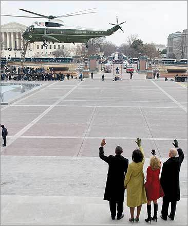 President Obama waved alongside his wife, Michelle, and Vice President Joe Biden and his wife, Jill, as former President Bush and his wife, Laura, left the Capitol on the presidential helicopter.