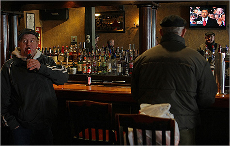Lifelong South Boston resident George Tilton drank his beer at the Black Thorn pub as President Barack Obama was sworn in.