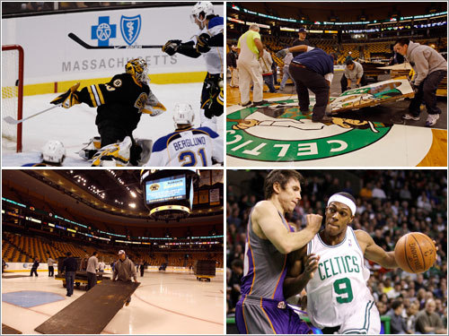 The Globe's Tony Massarotti was at the TD Banknorth Garden for more than 12 hours Monday, chronicling the Bruins-Blues (1 p.m.) and Celtics-Suns (8 p.m.) games, as well as all of the setup and preparations, before, after, and in between. The following photos tell the story of a day in the life of the Garden from the eyes of those who made it all happen.