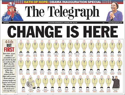 The Calcutta Telegraph chose an interesting way to graphically represent the uniqueness of President Obama.