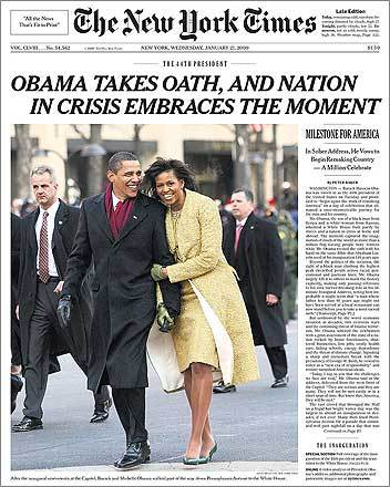 The New York Times captured the First Couple sharing a jubilant moment on their front page, along with anxious-looking Secret Service guards.