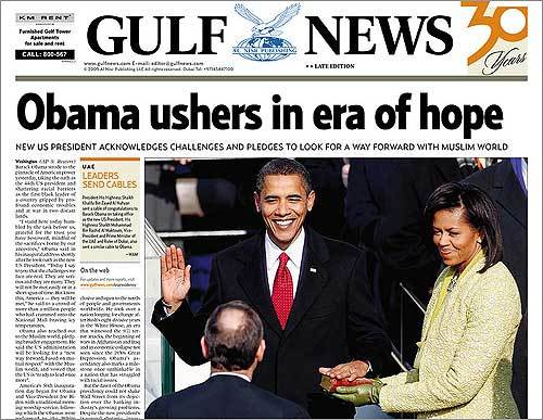 Dubai's Gulf News highlighted international hopes for a new foreign policy from the Obama administration.