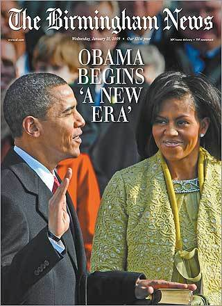 The Birmingham News' coverage focused on the president and first lady at the moment he took the Oath of Office.