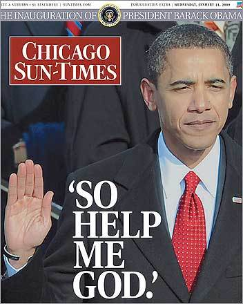 Obama's hometown tabloid turned down the snark, a bit, on their front page.