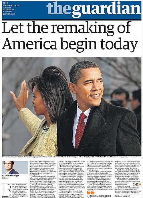 The Guardian of London ran a photo of the president and first lady along with an editorial hoping for a clean break from the Bush years.