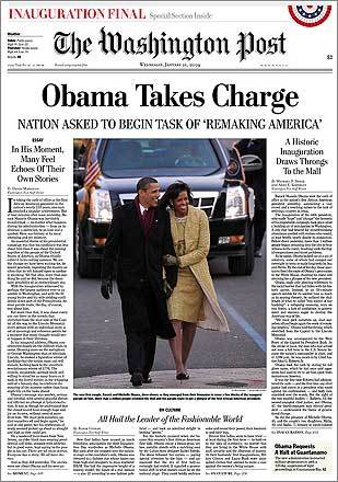 The Washington Post featured the president and first lady walking down Pennsylvania Avenue.