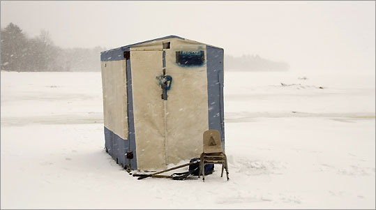 After coastal rivers freeze, handmade huts begin popping up on the ice around Bowdoinham, Maine.