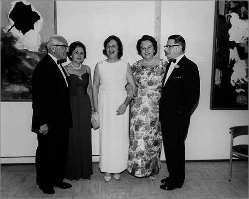 The Rose Art Museum was a collaboration of former Brandeis President Albert Sachar, pictured, left, and donors Bertha and Edward Rose, right, in this undated photo. Lois Foster, a donor after whom a wing of the museum is named, said of the museum's closing at the time of the initial announcement,: 'It's like a death.'