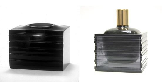 Tom Patti of Pittsfield contends Sean 'Diddy' Combs's fragrance bottle (right) copies his previous designs (left).