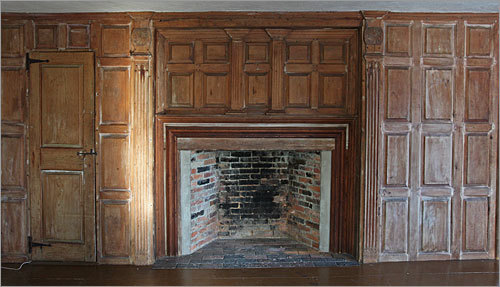 This fireplace is in the home's south chamber.